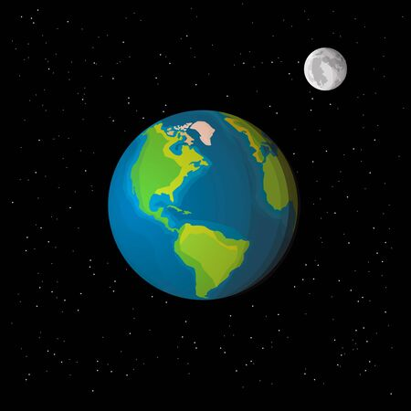 View of Earth and Moon from space with stars. Realistic style vector illustration.