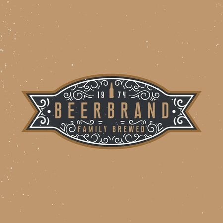 Beer label design with place for text, vintage ornament elements. Ilustracja