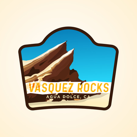 Vasquez rocks travelling logotype concept with rocks on background and text with their name