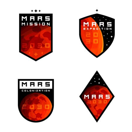 Mars colonization exploration badges, labels, signs, emblems, design elements. Mars mission badges for apparel  clothing design