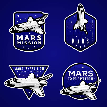 Mars mission blue logos, set of Mars themed badges with shuttle. Modern space