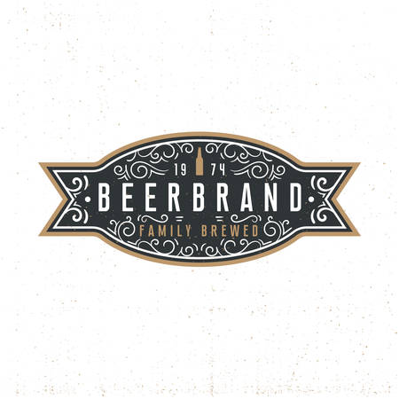 Beerbrand - vintage alcohol label with retro ornament elements