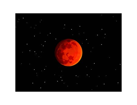 Mars planet isolated on outer space with stars. Red planet on dark background Ilustracja