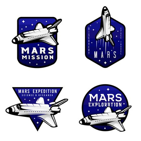 Set of mars exploration mission logotypes concepts with shuttle as a main element of the logo Ilustracja