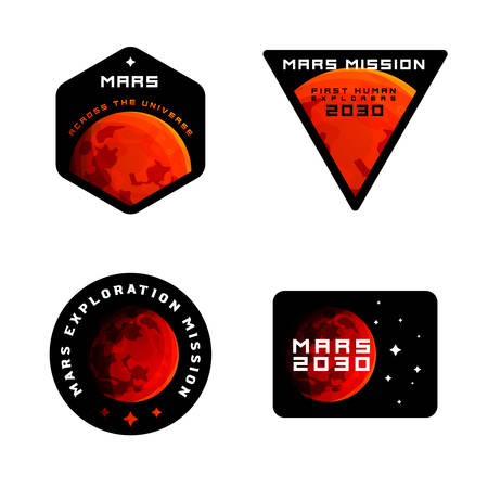 Mars mission emblems concept. Mars exploration  in colored modern style. Mars colonization badges in modern sci-fi style, badges  labels for clothing and etc Ilustracja
