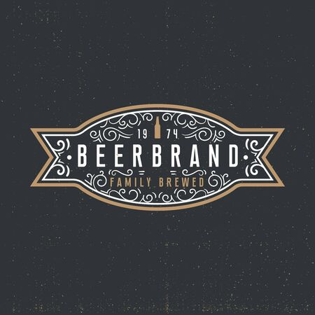 Beer label logotype concept in vintage style on dark background. Retro ornaments