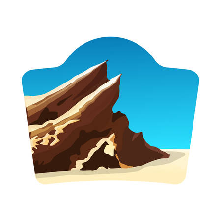 travel concept with vasquez rocks, blue sky and white background, stock vector