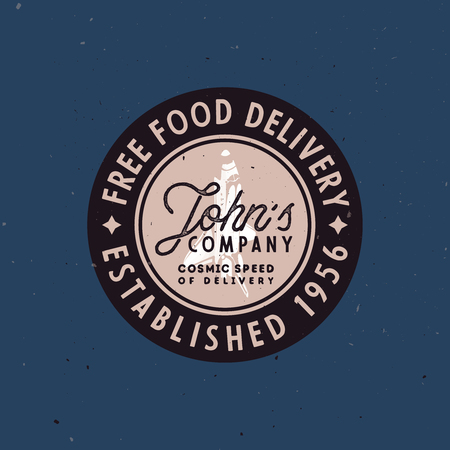 Food delivery vintage badge, old-fashioned vector illustration with grunge texture and space shuttle in the middle, and funny slogan inside the circle of logo. Ilustracja