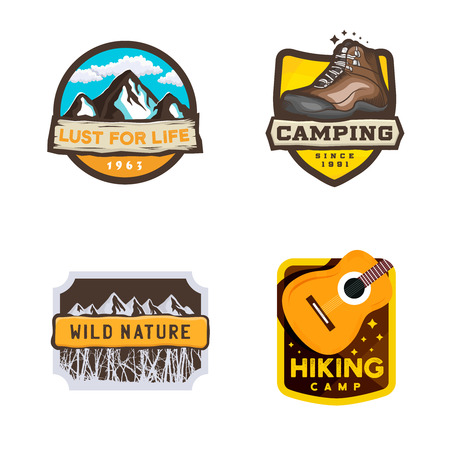 Vector camping logos in modern style, hiking badge with inspirational slogan. Design elements: guitar, mountains, trees, hiking shoe, stars. Ilustracja