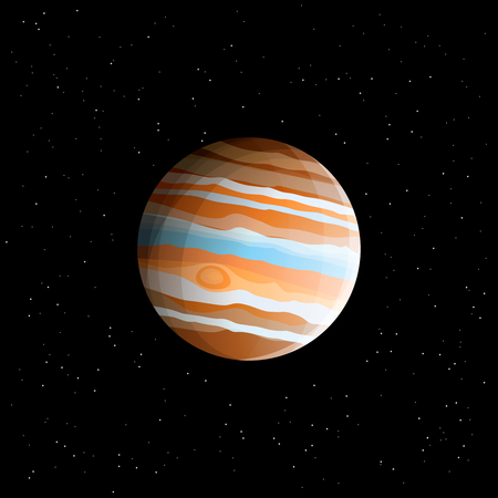 Gas giant - planet Jupiter (biggest Solar System planet) drawn in realistic style, isolated on cosmic space background with stars Ilustracja