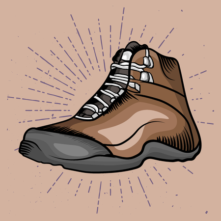 Hiking shoe drawn in realistic style. Travel boot for climbing, hiking, camping and survive adventure. Realistic shoe vector illustration