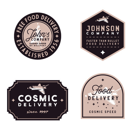 Food delivery vintage badges, old-fashioned vector illustration with grunge texture and space shuttle as main design element of these emblems. Retro styled 1960s logos on food theme Ilustracja
