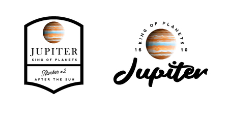 Logotypes with Jupiter, company logo concept with realistic gas giant planet Vettoriali