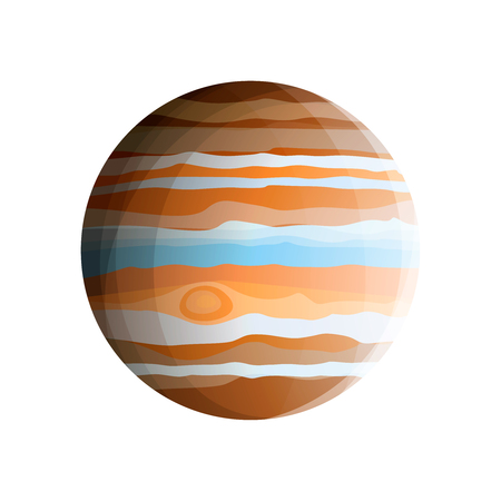 Gas giant - planet Jupiter (biggest Solar System planet) drawn in realistic style, isolated on white background
