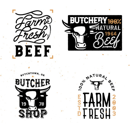 Farm fresh beef badgesnlogos. Vintage styled retro labels and badges.