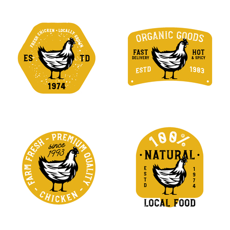 Farm fresh chicken marks. Badges in vintage style on farm theme with monochrome chicken sketch