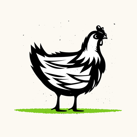 Retro monochrome sketch of chicken with grunge texture.