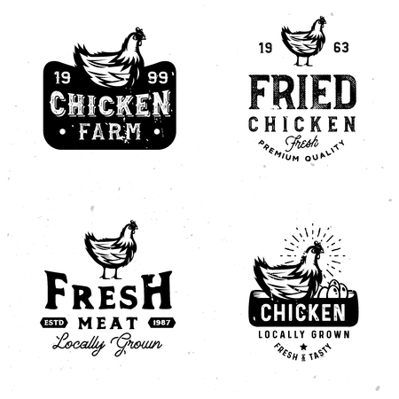 Farm fresh chicken marks. Badges in vintage style on farm theme with monochrome chicken sketch Zdjęcie Seryjne - 106199946