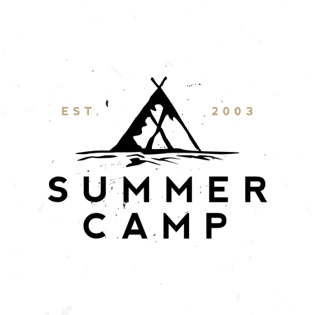 Summer camp retro logo. Minimal vintage badge.