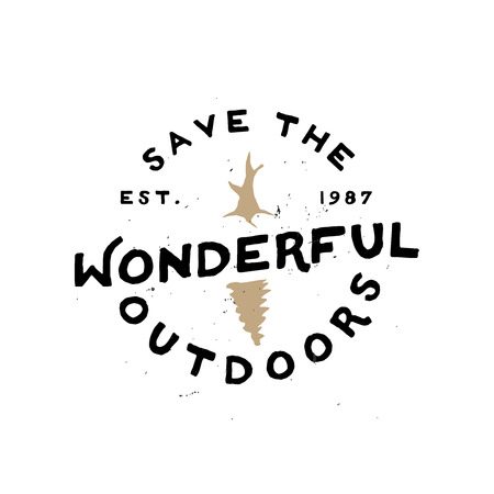 Save the wonderful outdoors - Agitational retro minimal logo Ilustracja