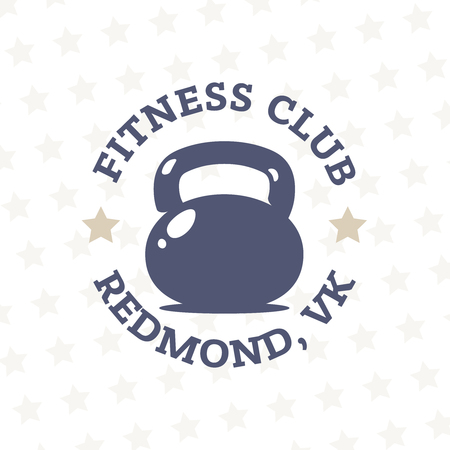 fintess club logotype with kettlebell in the middle. Modern professional gym logotype. Ilustracja