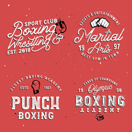 Red background. Boxing themed retro logo templates in vintage style with grunge effect.
