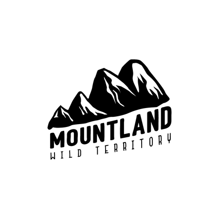 Vintage monochrome mountain shapes in logotype with text under the mountains.