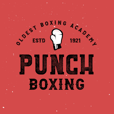 Vintage boxing logos, badges, stickers, labels on red background. Retro martial arts poster. Boxing design elements: hanging boxing gloves