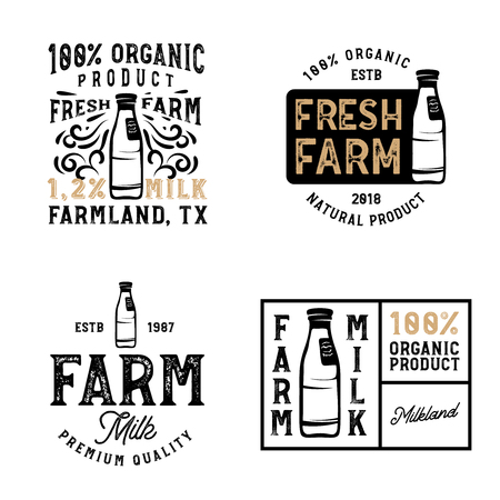 Farm fresh milk badges and logos. Vintage milk labels.
