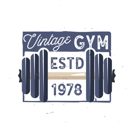 Retro gym logo type. Vintage gym fitness logo in old-school style. Light version Zdjęcie Seryjne - 106200009