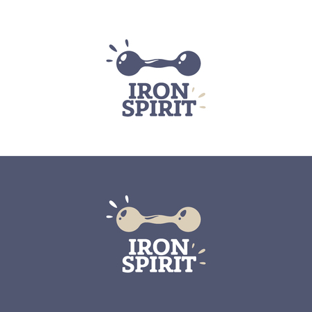 Modern professional fitness logo. Simple and minimal logo for gym with dumbbell in two styles: dark and light. Iron Spirit - text.