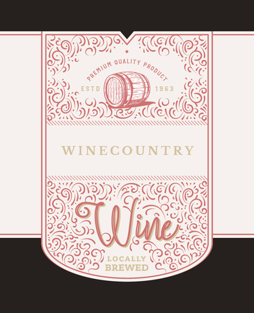 Wine monogram design with floral elements and ornament. Modern elegant wine label.
