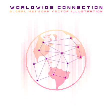 Point and line composed world map representing the global network connection. Concept of global business vector concept. Light version