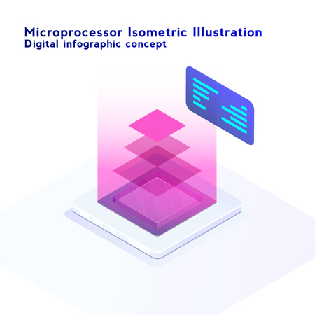Isometric neon styled illustration of CPU chip. Electronic digital computer banner with computer microprocessor with processing layers concept.