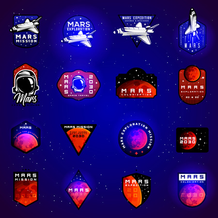 Big set of space mission to Mars vector emblems concept with space shuttle. Blue colors in priority Ilustracja