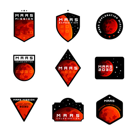 Set of Space mission to Mars vector logos Mars planet drawn in realistic style is main design element of these emblems Illustration