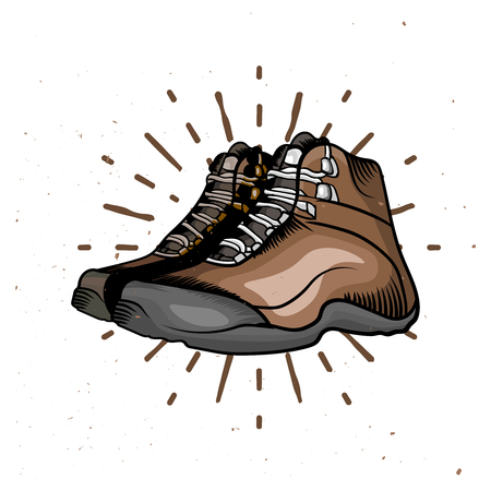 Vector cartoon hiking shoes. Trekking boots with sunburst on the background. Perfect design elements for travel emblems