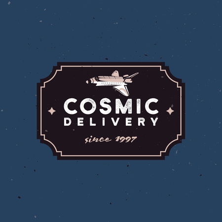Delivery badge logo concept with space shuttle symbolized fast delivery Ilustracja