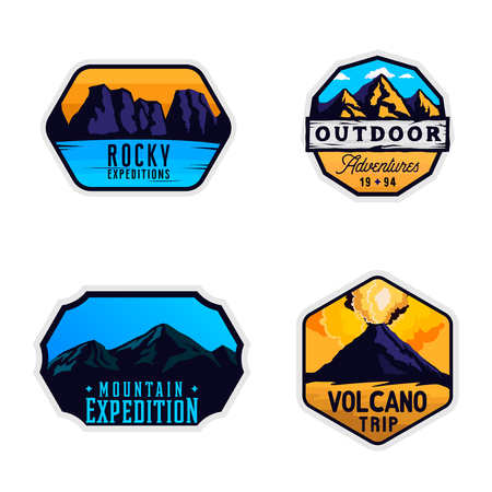 Mountain logotypes, stickers, badges. Outdoor themed labels in colored modern style. Mountain exploration emblems Ilustracja