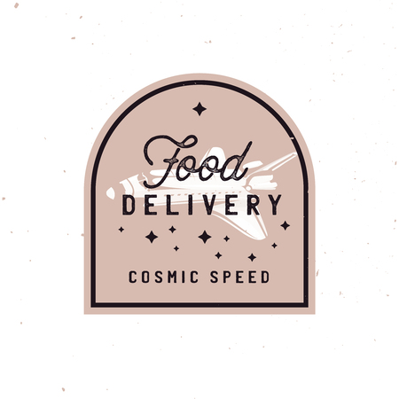 Transportation badge concept in vintage style, fast food delivery retro label