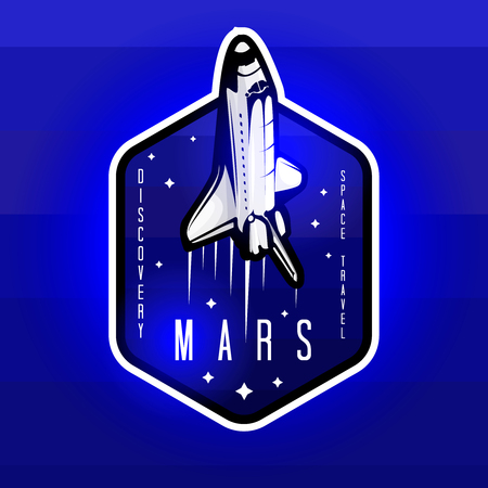 Space mission to Mars vector logotype concept with space shuttle. Blue colors in priority Ilustracja