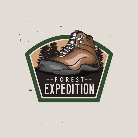 Forest expedition vintage colorful logotype with hiking trekking shoe, vintage badge for expeditions, events, apparel, banners etc. Light background version