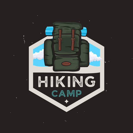 Hiking camp logotype concept with travel backpack, outdoor adventures badge with hiking related design elements on light background