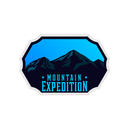 Mountain expedition logotype with rocky shapes. Travel sticker for apparel, clothing, banners. Ilustracja