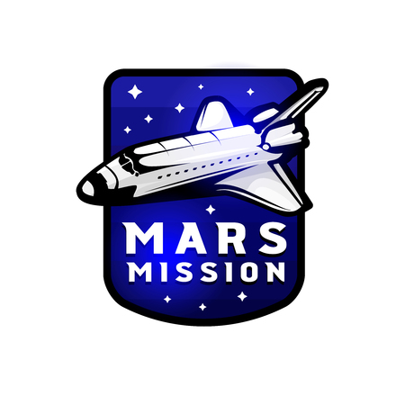 Space mission to Mars vector logotype concept with space shuttle. Blue colors in priority Çizim