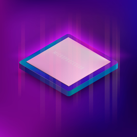 Isometric neon styled illustration of computer microprocessor. Electronic digital computer banner with CPU chip. Ilustracja