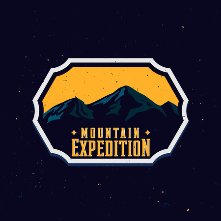 Mountain shapes inside the travel sticker drawn in vintage style with grunge texture, vector stock