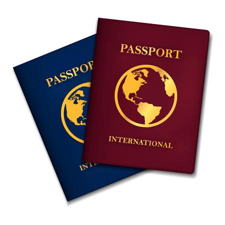 Dos conceptos de pasaportes internacionales (versiones azul y roja), vector.