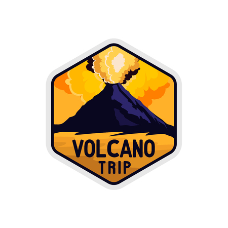 Volcano yellow sky badge with rocky shape and smoke of volcano explosion, vintage retro colored styled sticker for expeditions, events, apaprel, banners etc