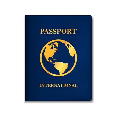Międzynarodowa koncepcja paszportu w wersji niebieskiej narysowana w realistycznym stylu 3d z cieniami, ikoną ziemi pośrodku i tekstami.